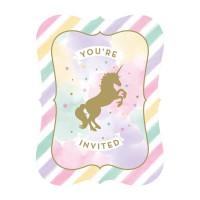 Unicorn Sparkle Invitations - 8 Pack