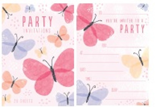 Butterfly Padded Invitations - 20 sheets