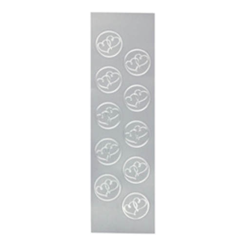 Silver Double Heart Seals - 5 Sheets