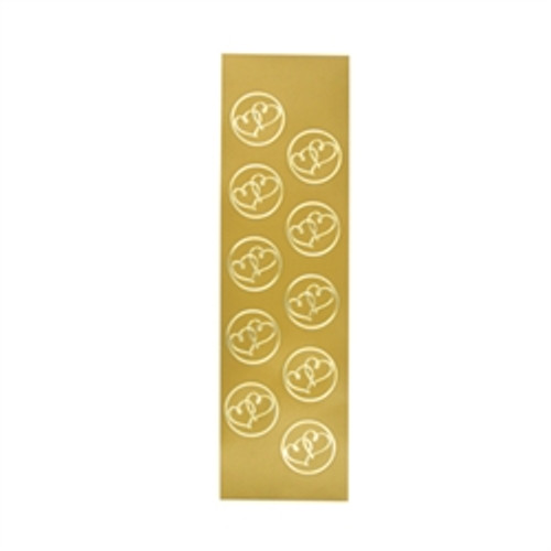 Gold Double Heart Seals - 5 Sheets