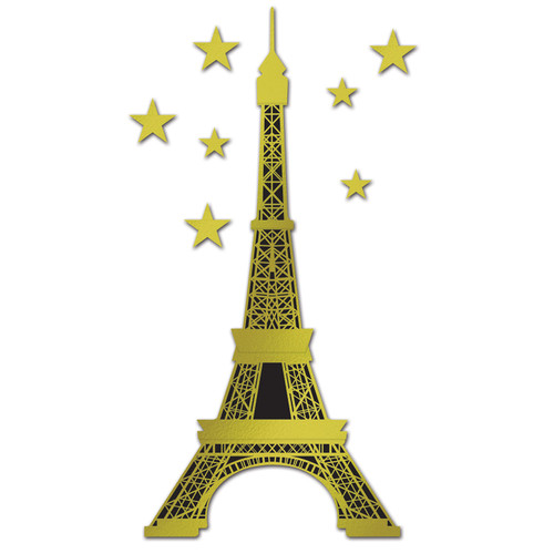 Eiffel Tower Jointed Cutout with Stars - 1.79 Metres
