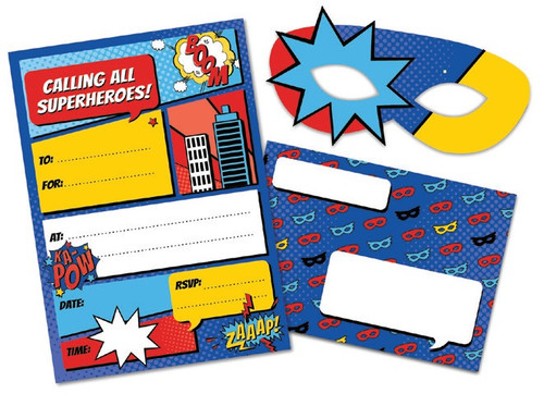 Superhero Party Invitations with Masks and Envelopes - 8 Pack