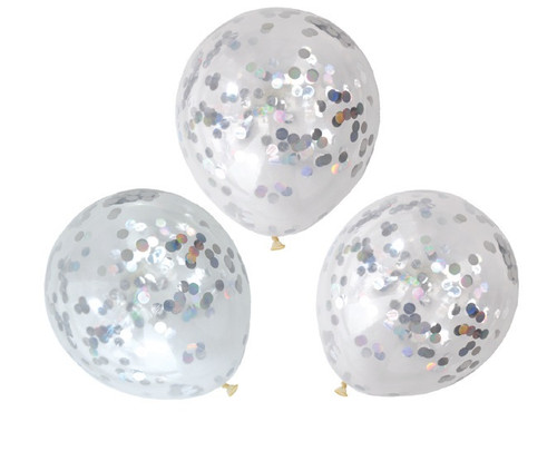 Iridescent and Silver Foil 30cm Confetti Balloons - 3 Pack