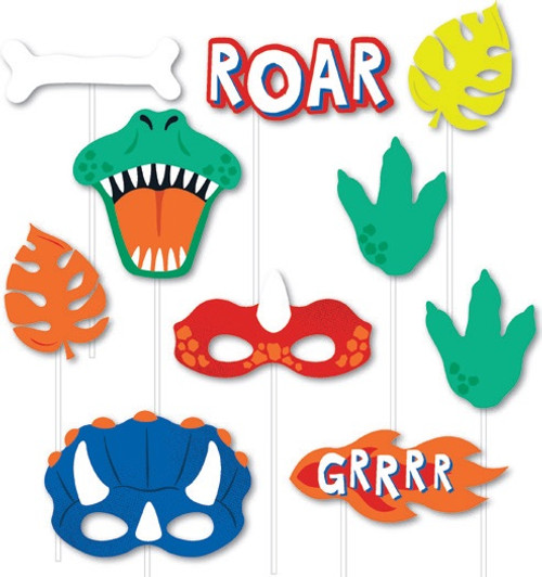 Dinosaur Party Photo Props - 10 Pack