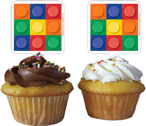 Lego Inspired Block Party Cupcake Toppers - 12 Pack