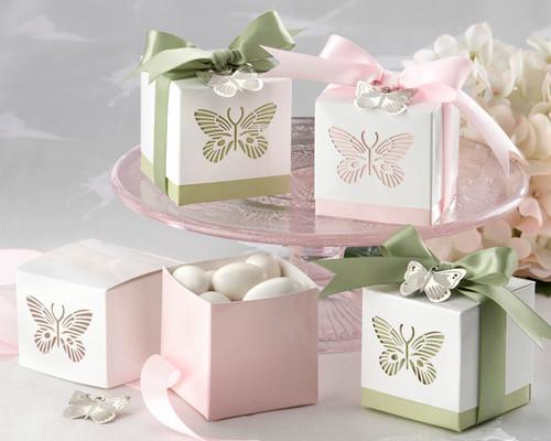 Butterflies Laser-Cut Favour Box - Set of 24 (Sage Only)