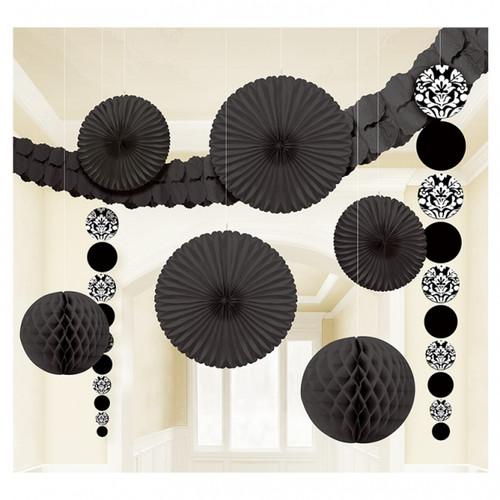 Black & White Damask Room Decorating Kit