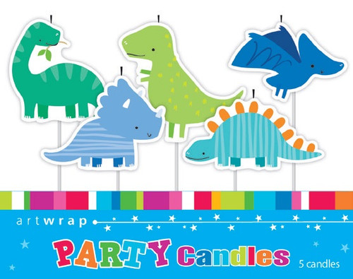 Dinosaurs Pick Candles - 5 Pack