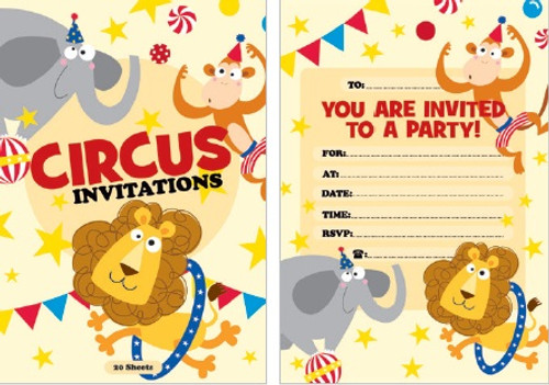 Circus Party Padded Invitations - 20 Sheets
