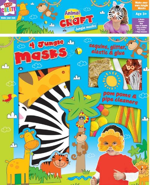 Animal Craft Jungle Masks Kit  - 4 Pack