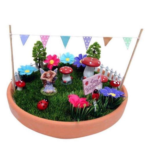Fairy Garden in Pot with Toadstools