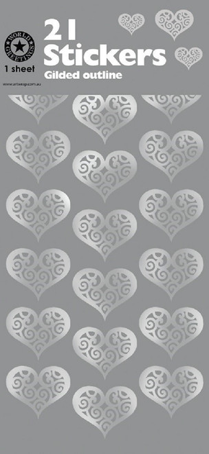 Silver Hearts Gilded Outline Sticker Seals