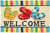 A colorful, machine washable Jellybean® rug featuring  Beach Flip Flops!