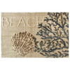 Bring the sands of the beach in your home without the hassle of cleaning it up with this serene Homefires by Jellybean® indoor only accent rug. A clam shell anchors this coastal themed, super soft, microfiber accent rug. Make the perfect pair with designer Julie DeRice's Beach Sand Dollar design.