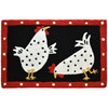 Polka dots mimic the sounds of clucks and pecks delieverd by two chicks on this Jellybean® accent rug. A framed border offers an artistic touch to a country chic design. This Jellybean® accent rug is machine washable delivering durability for many feedings to come.
