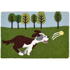 On this Jellybean® accent rug a playful pup chases his ball through the grass. Her excitement is as palpable as those who will encounter this throw rug in indoor and outdoor spaces. Machine washable durability will make this joyful design by Sarah Frederking last for many romps to come.