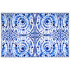 """Japanese shibori inspiration by Audrey Jean Roberts leads to an intricate blue and white design. Homefires by Jellybean® offers an innovative approach to floor coverings with poly-suede floor cloths. Machine washable printed polyester available in four sizes offers a decorative floor cloth, thin enough to slide tables and chairs with ease. Available sizes: 20"""" x 30"""", 3' x 5', 5' x 7', and 21"""" x 54"""""""