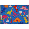 Dinosaurs and rainbows are the things childhood dreams are made of! Designer Elizabeth Silver has captured the imagination with this vibrant colored Homefires by Jellybean® poly-suede floor cloth. The suede feel floor cloth is machine washable and available in four sizes.