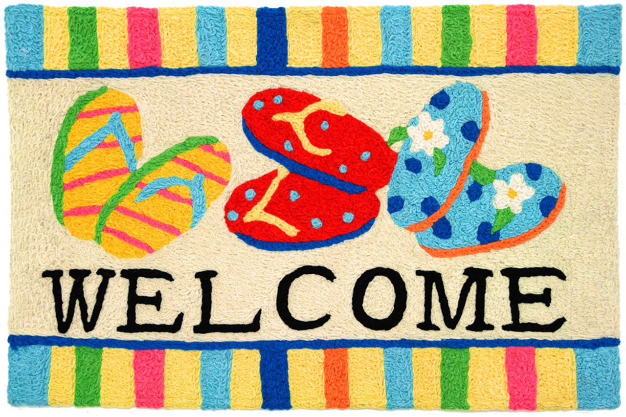 Jellybean Flip Flop Welcome Accent Rug
