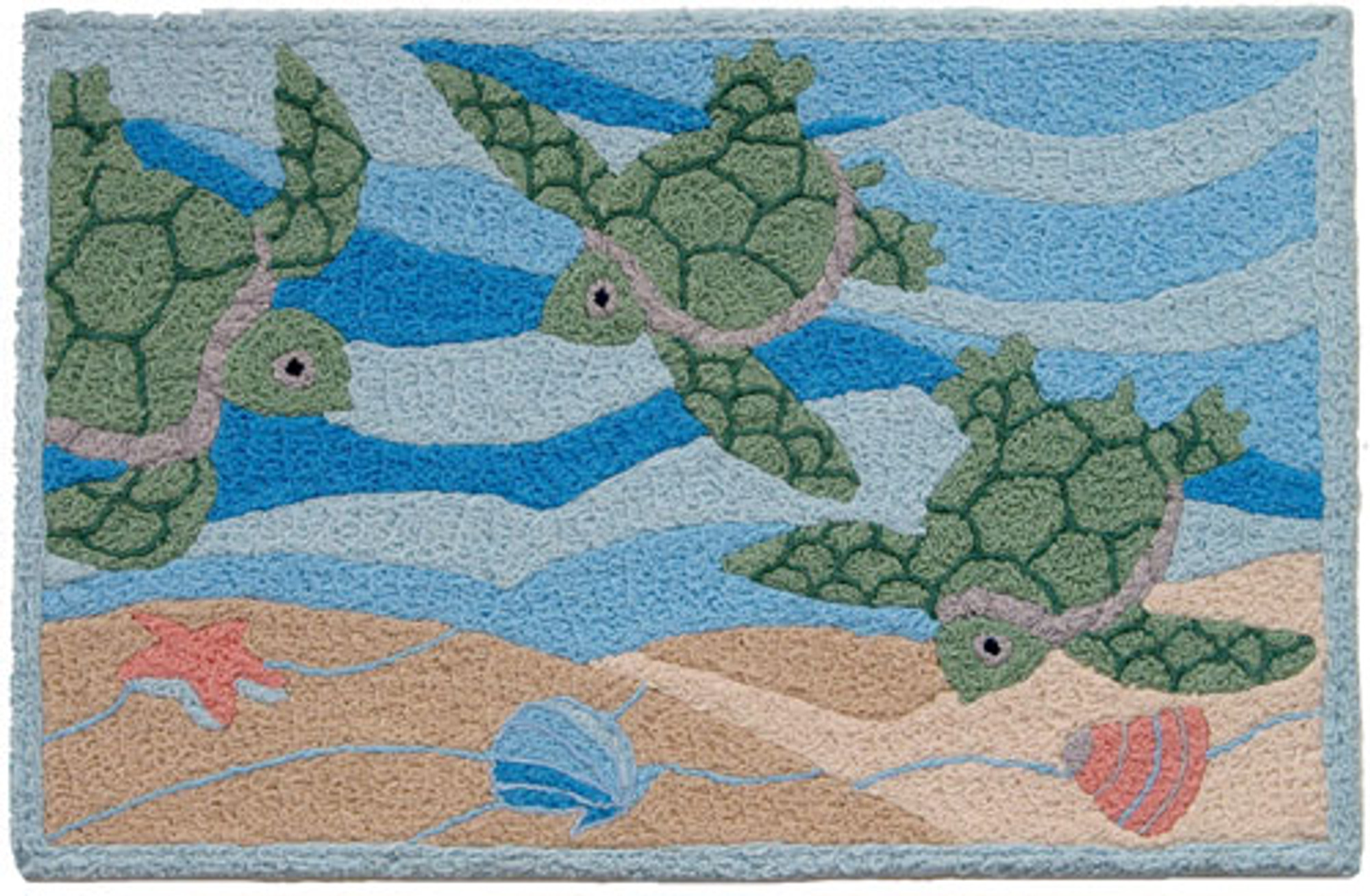 A colorful, machine washable Jellybean® rug featuring turtles swimming!