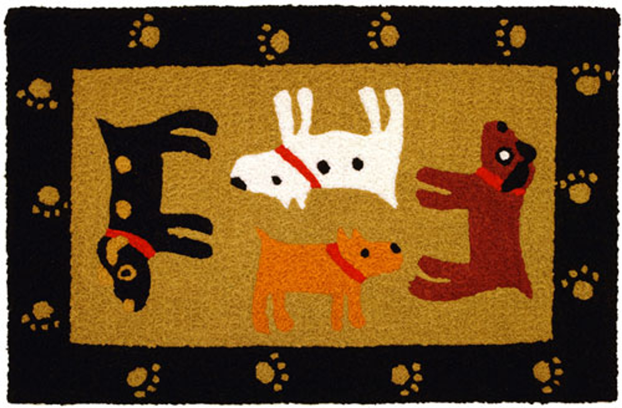 A colorful, machine washable Jellybean® rug featuring 4 very happy dogs in a cute black frame!