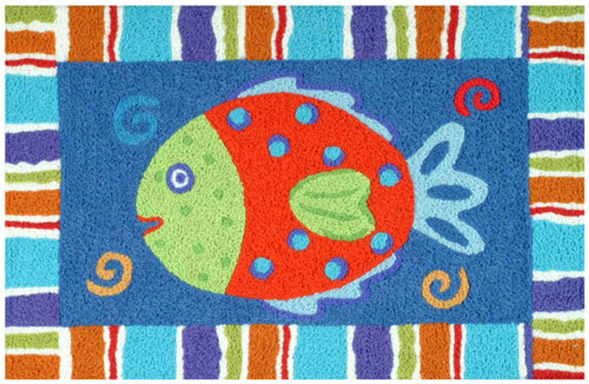 A colorful, machine washable Jellybean® rug featuring a smiling fish!