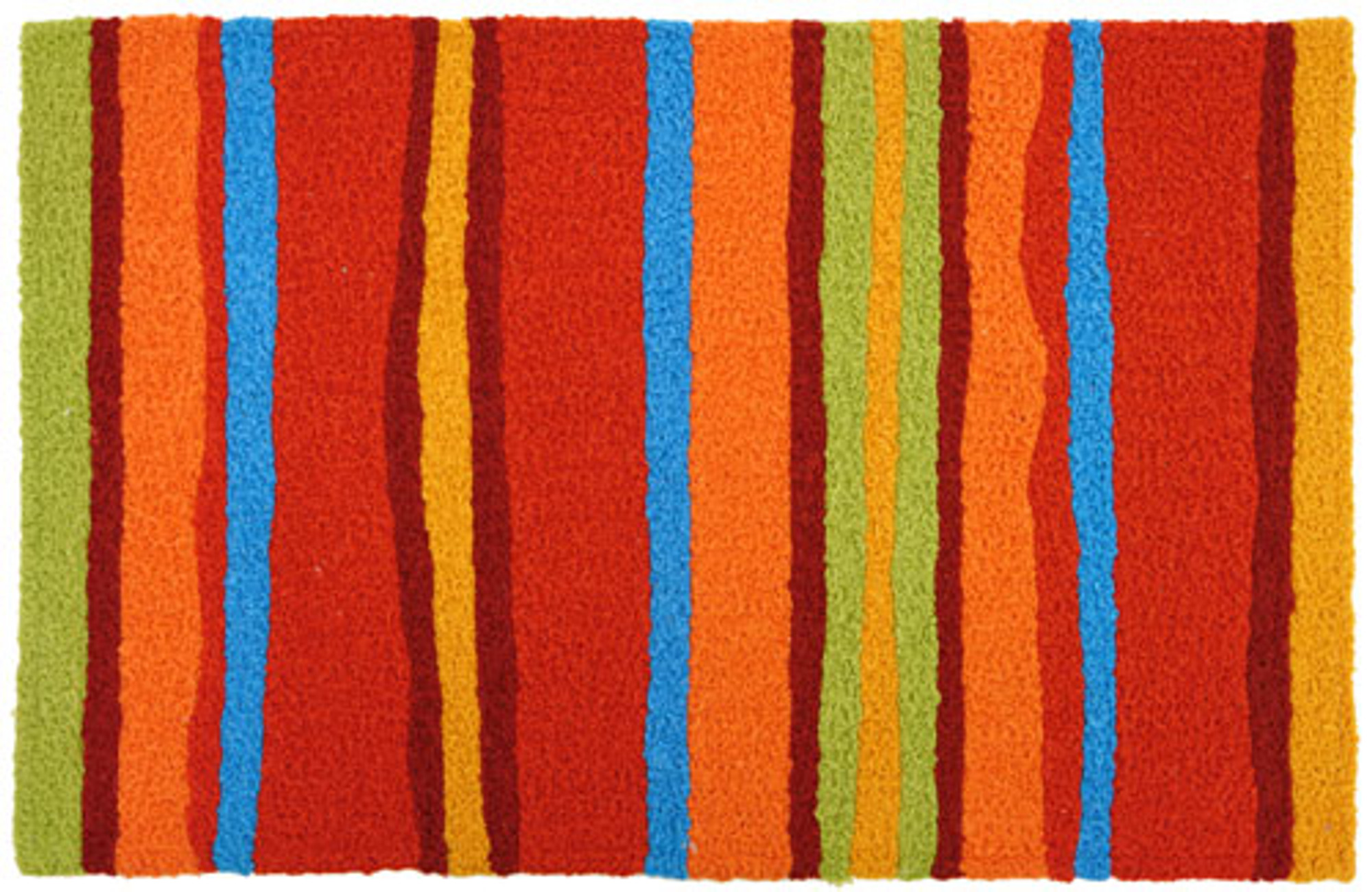 A colorful, machine washable Jellybean® rug featuring bright stripes!