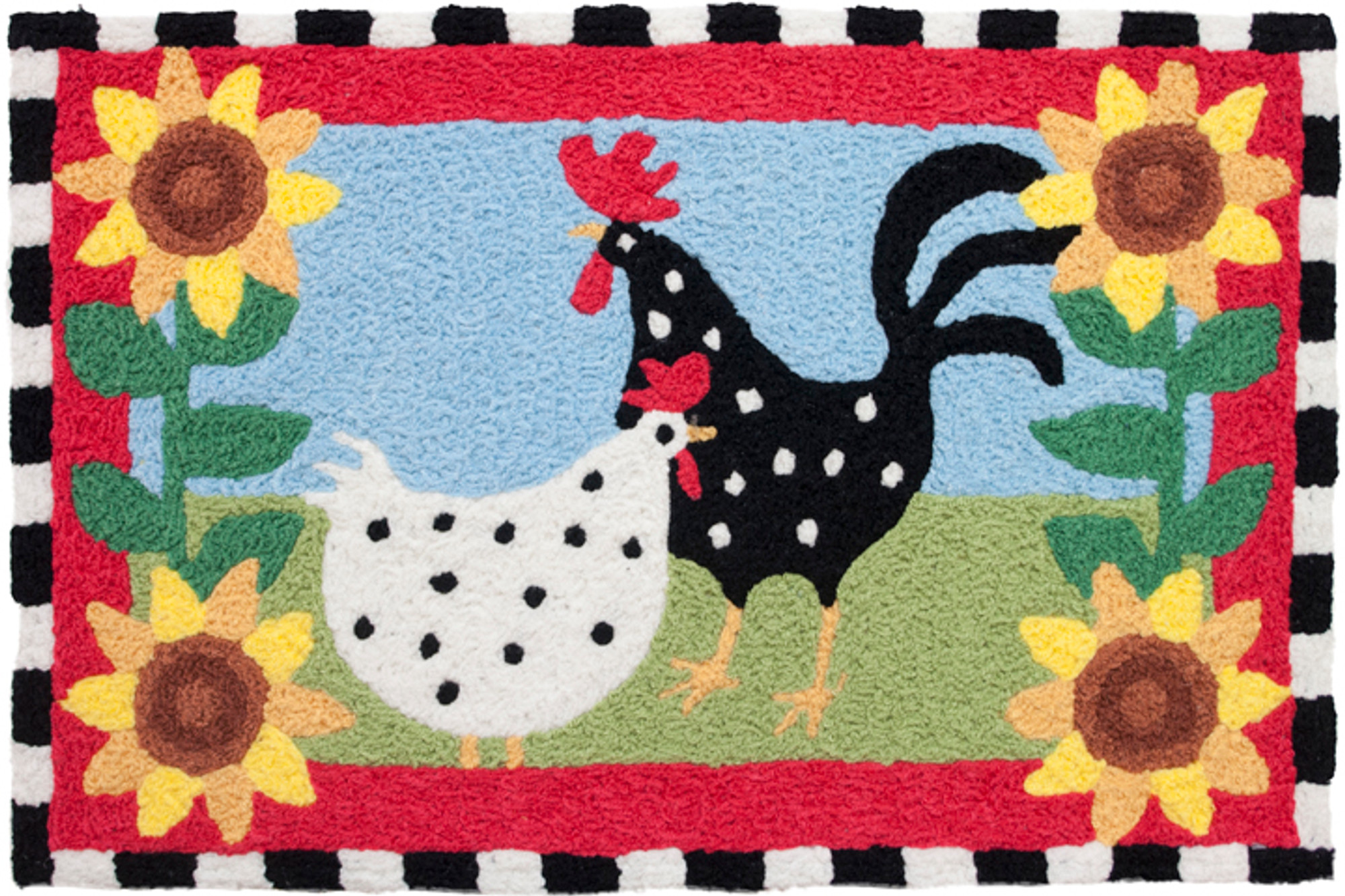 A colorful, machine washable Jellybean® rug featuring funky chickens!
