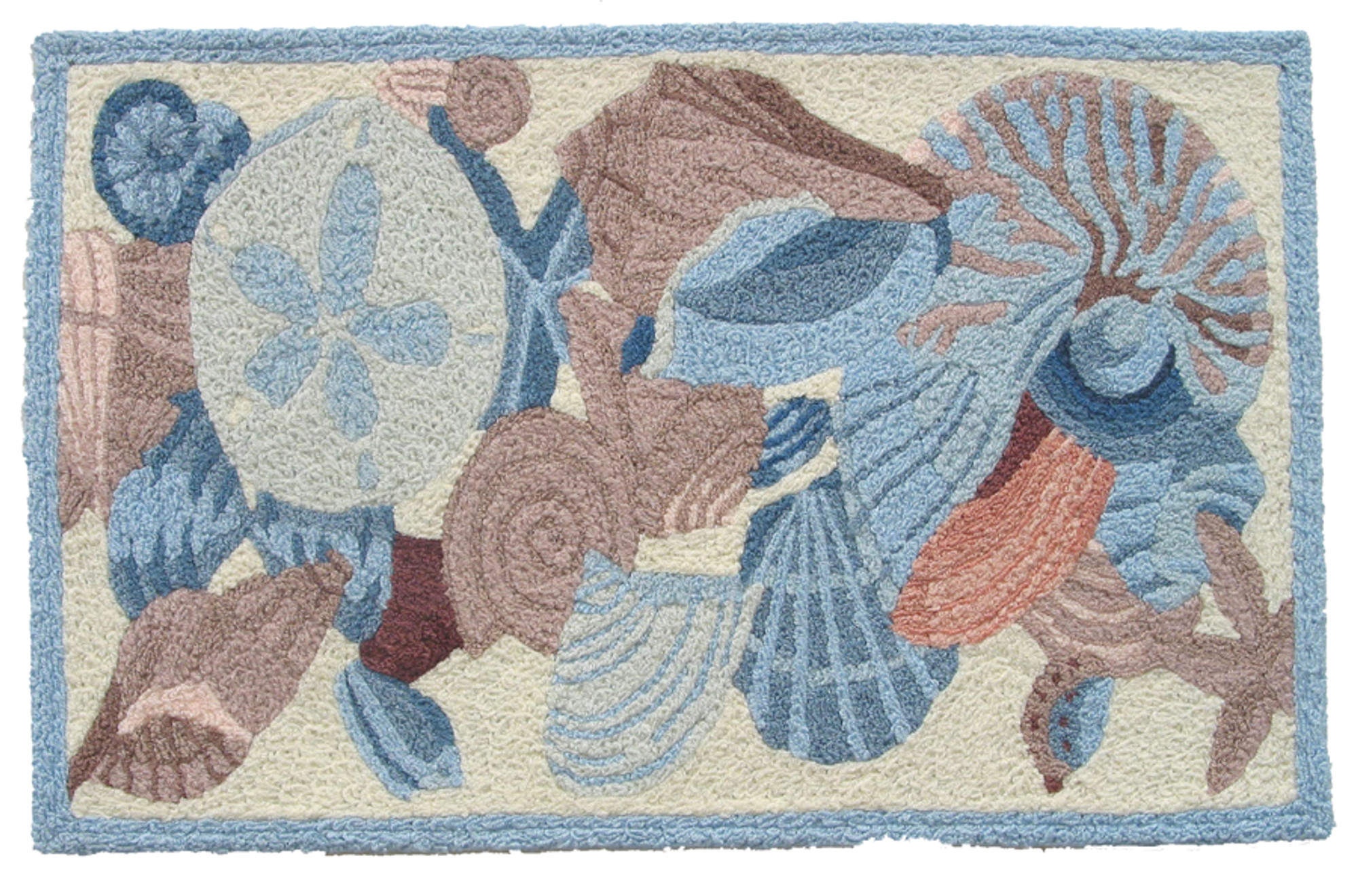 A colorful, machine washable Jellybean® rug featuring shells and coral!