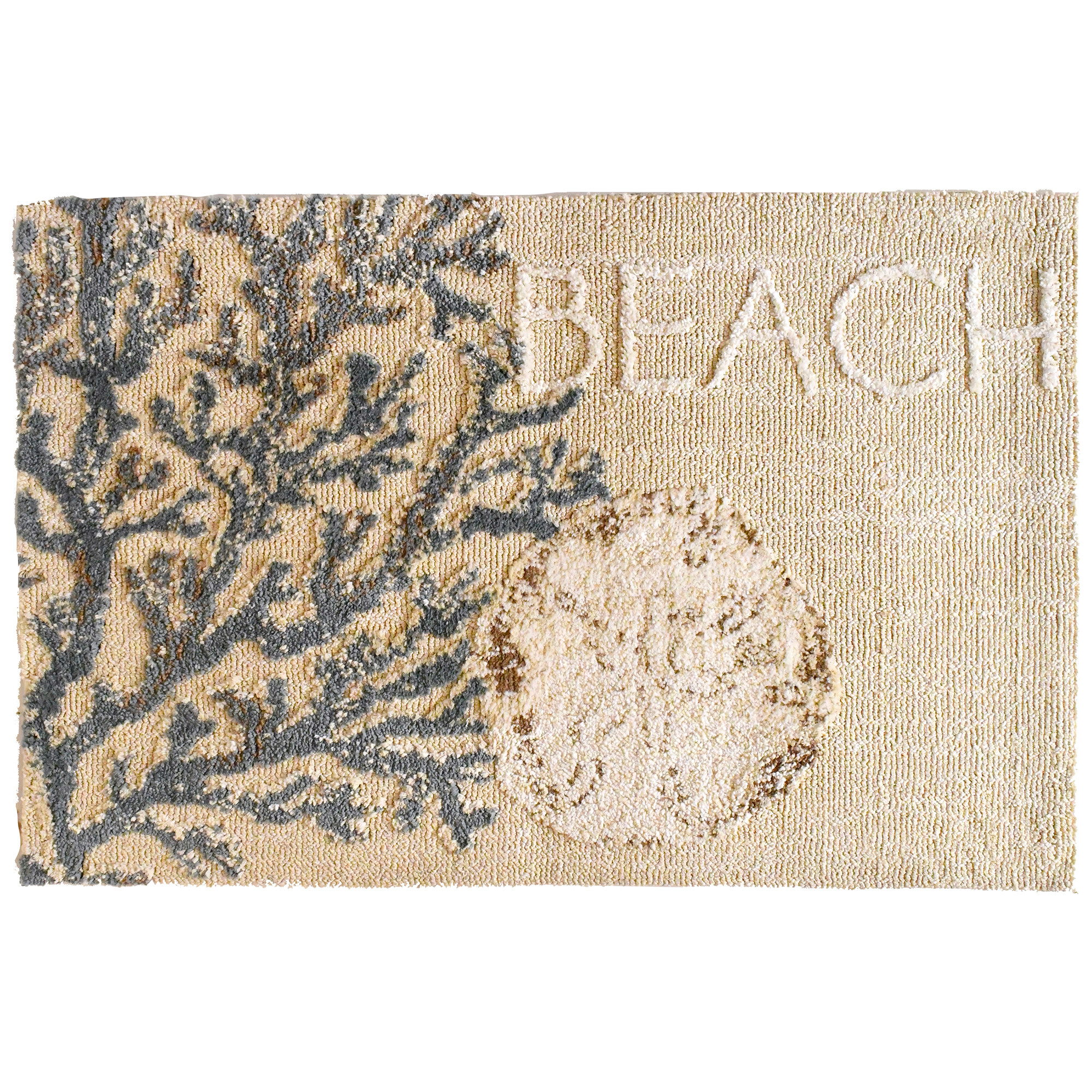 Bring the sands of the beach in your home without the hassle of cleaning it up with this serene Homefires by Jellybean® indoor only accent rug. A sand dollar anchors this coastal themed, super soft, microfiber accent rug. Make the perfect pair with designer Julie DeRice's Beach Clam Shell design.
