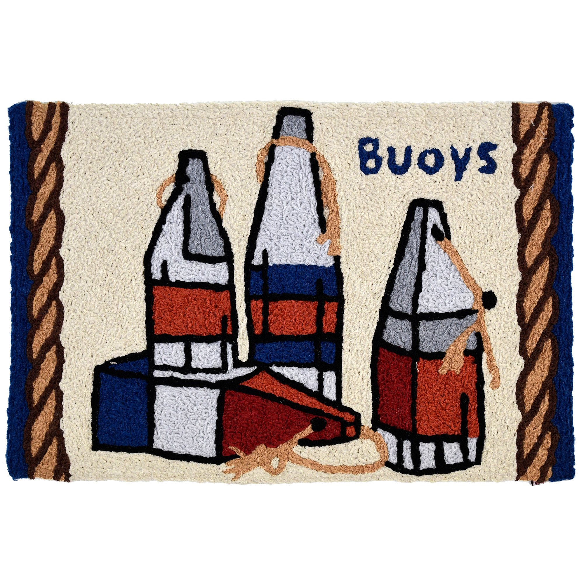 Red, white and blue buoys conjure thoughts of summer time fun on this Jellybean® accent rug. Washable rugs by Jellybean® offer enjoyment for many washes to come. Our accent rugs are hand tufted using partially recycled materials.
