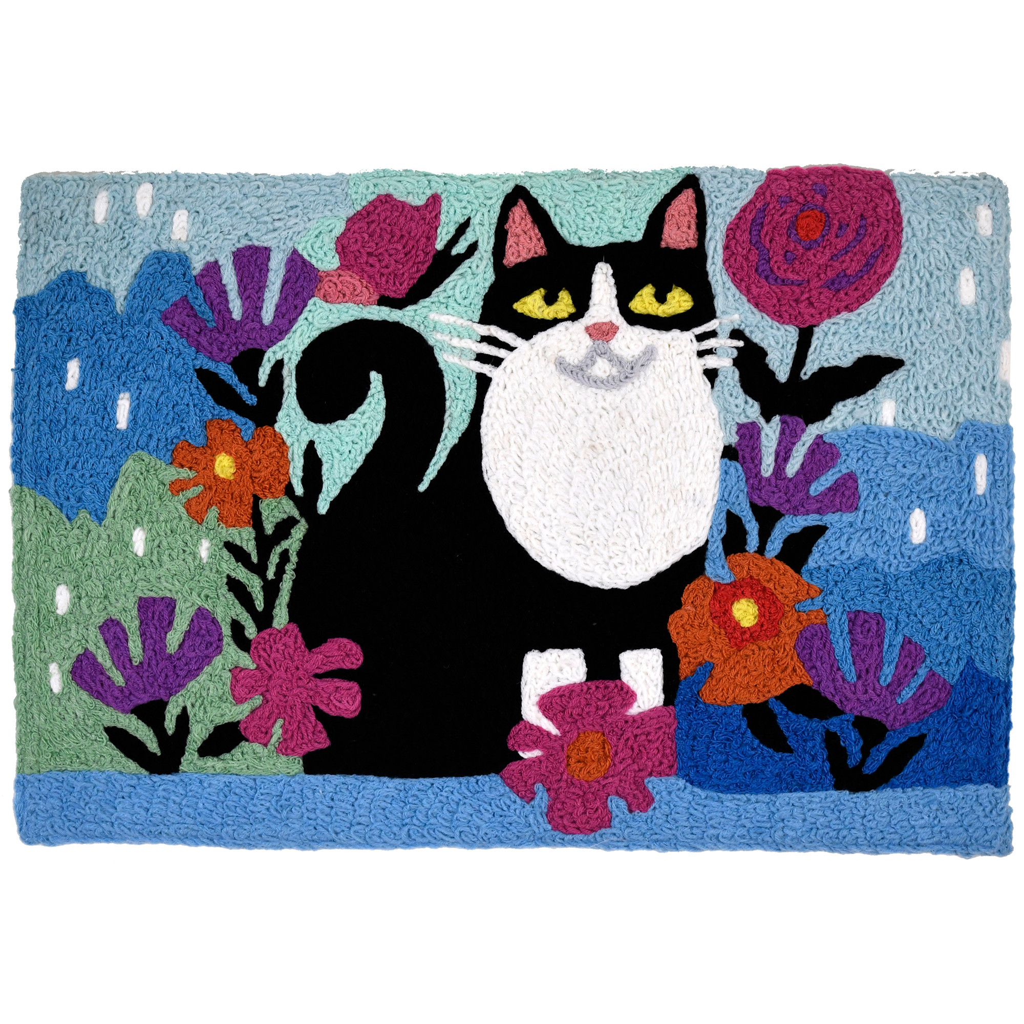 Indoor/outdoor rug design makes this smiling feline a welcomed addition to your space. Her black fur gleams against the blue cityscape and bright blooms of this Jellybean® accent rug. Machine washable durability ensures this rug will bring pet loving smiles for many footsteps to come.