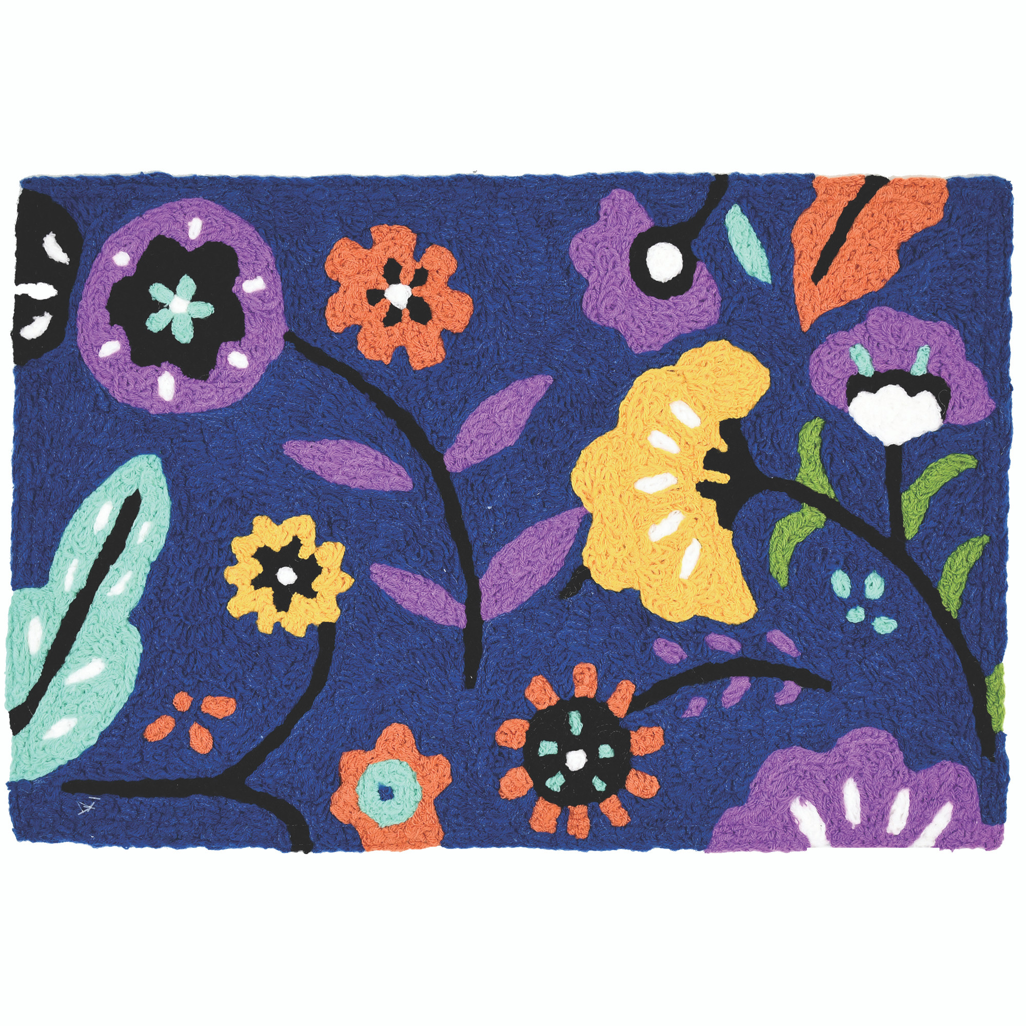 This Jellybean® accent rug features bright blooms bending beneath the passing wind. A deep blue background makes the vibrant colors of this indoor/outdoor rug pop. This polyester accent rug is machine washable for added durability.