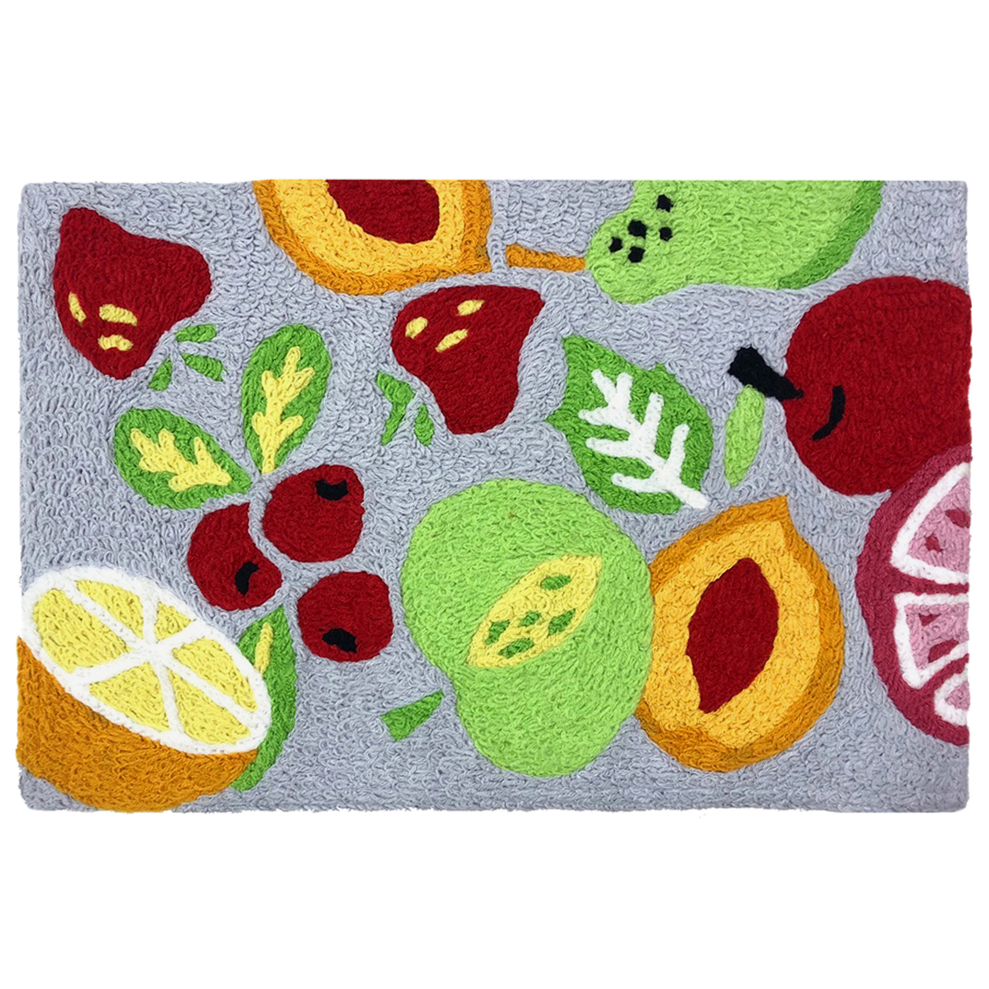 The fruit has been tossed for a delicious kitchen rug design. Vibrant hues will keep the fruit fresh on this machine washable rug. This Jellybean® accent rug is made of polyester fibers and suitable for indoor and outdoor placement.