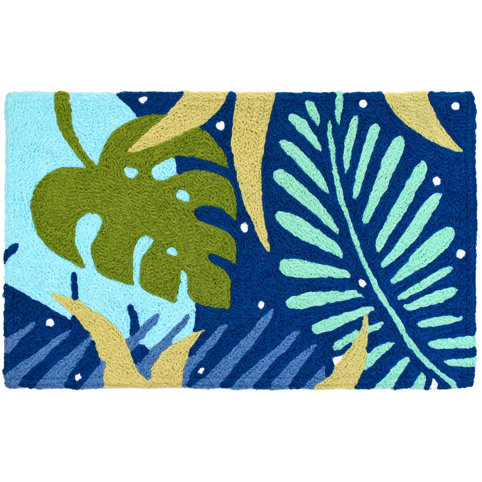 Hues of blue turn tropical foliage into a welcomed sight on this Jellybean® accent rug. Crafted using machine washable materials, the hand-tufted delight is sure to last for many undersea adventures to come.