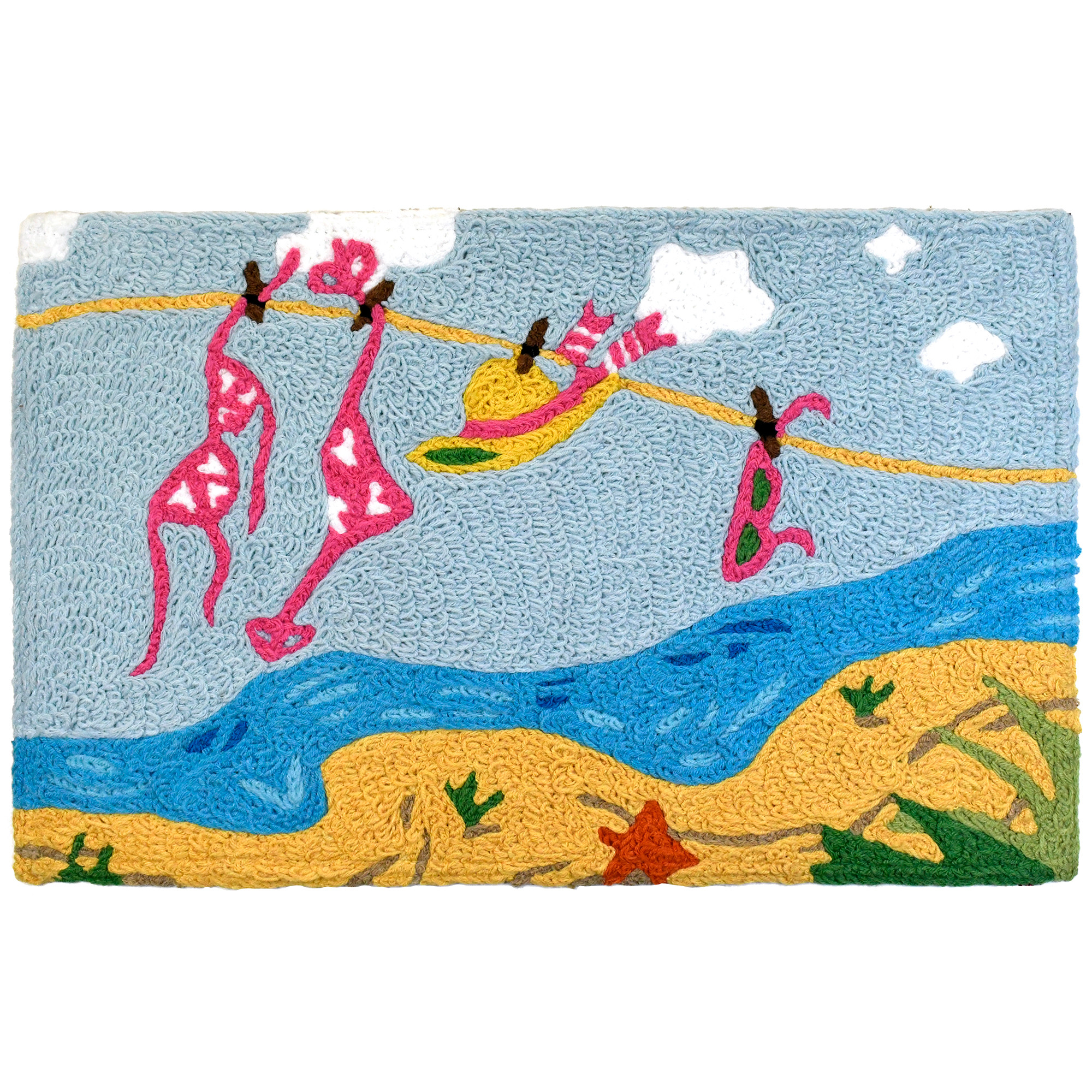 Hang it all on the line when you head to the beach! This Jellybean® accent rug offers reminders of the carefree lifestyle that comes with coastal living. Bring it to your inland home or to remind visitors at your beach house. This machine washable Jellybean® accent rug is crated using recycled materials.