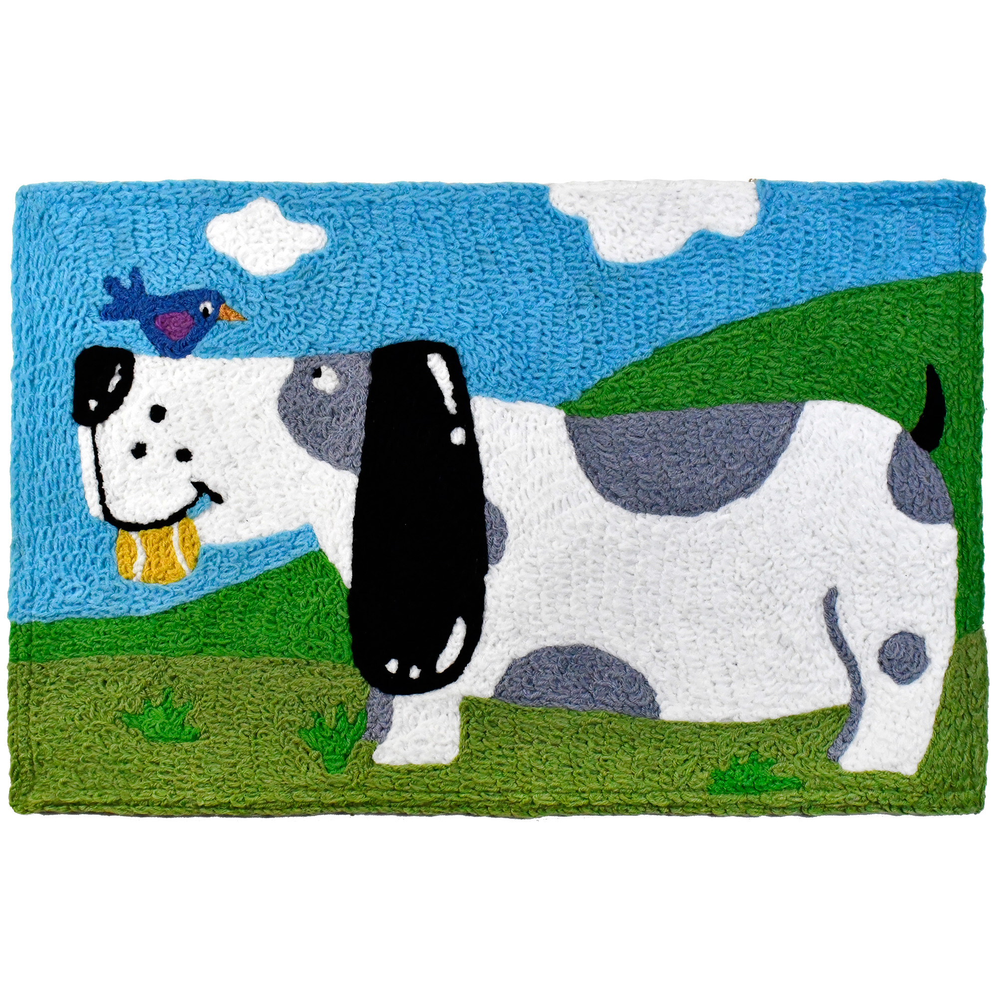 A playful pup enjoys the company of a chipper friend on this washable rug. The Jellybean® name ensures quality, hand-tufted crafting. This Jellybean® accent rug includes recycled materials.