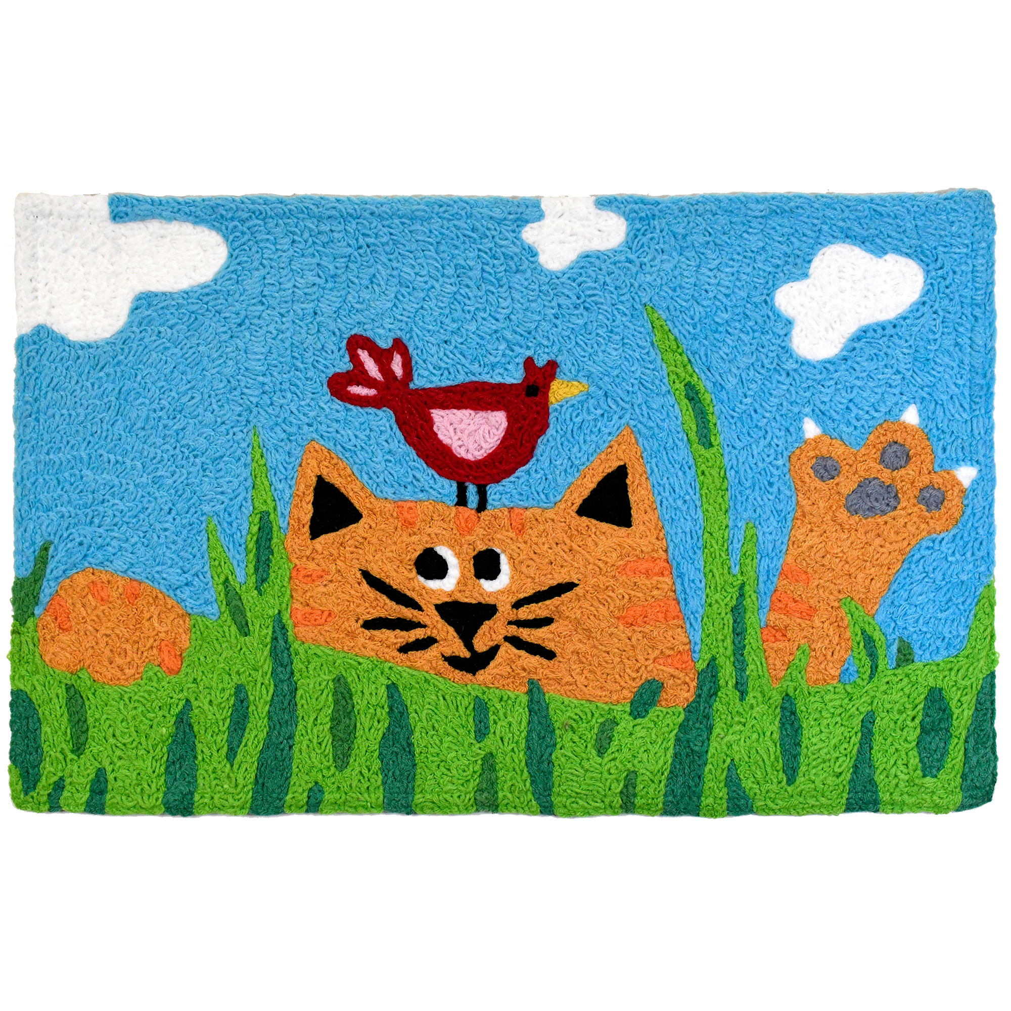 """""""An orange tabby cat romps in the vibrant grass while playing with a feathered friend. Machine washable crafting makes this polyester accent rug by Jellybean®  an ideal addition to the pet lovers home. Indoor and outdoor design makes the play accessible to a variety of spaces."""""""