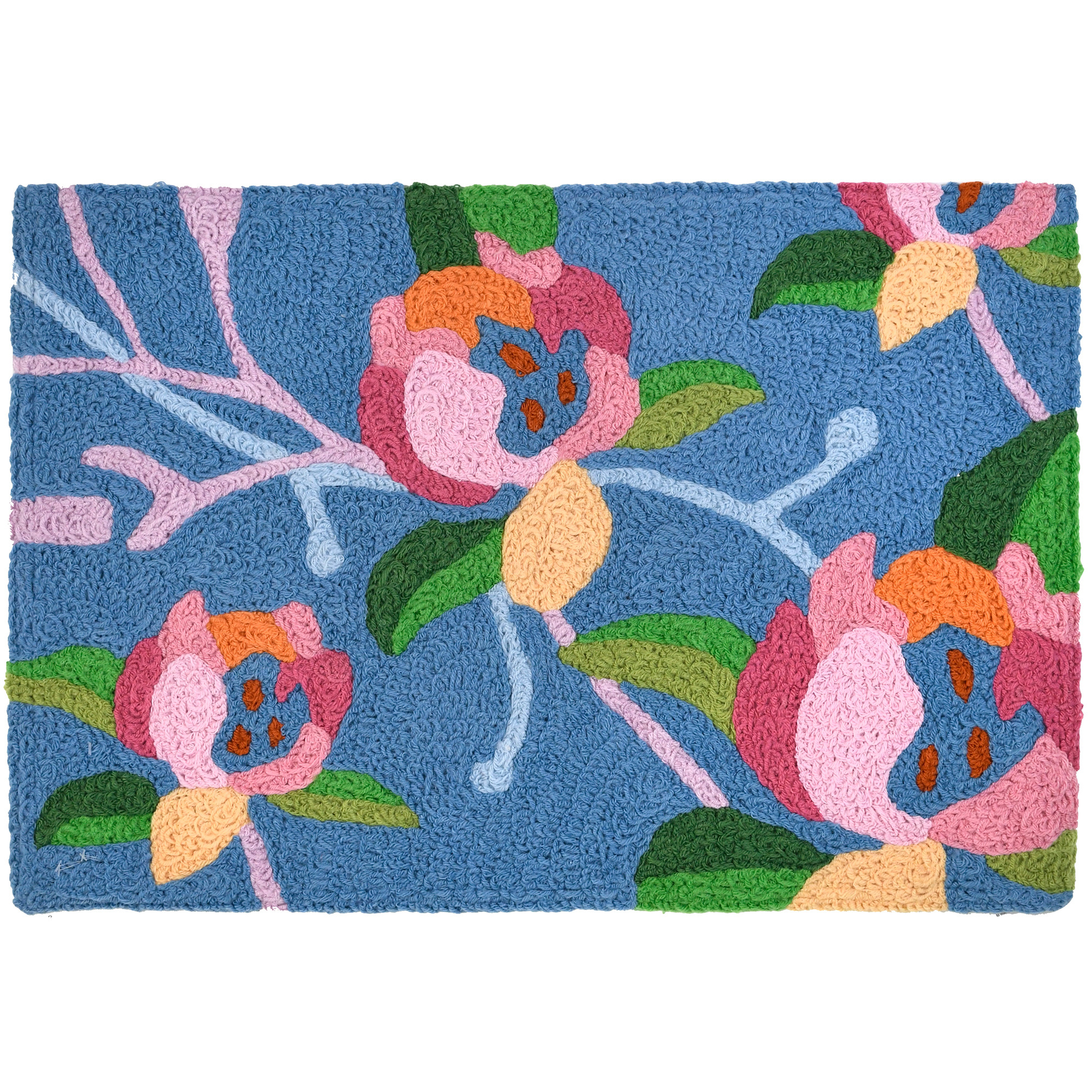 Calming colors of turquoise and pink capture the long history of the lotus flower on this Jellybean® accent rug. Symbolism of rebirth will continue on this machine washable rug. Use of polyester fibers allow for indoor and outdoor use.