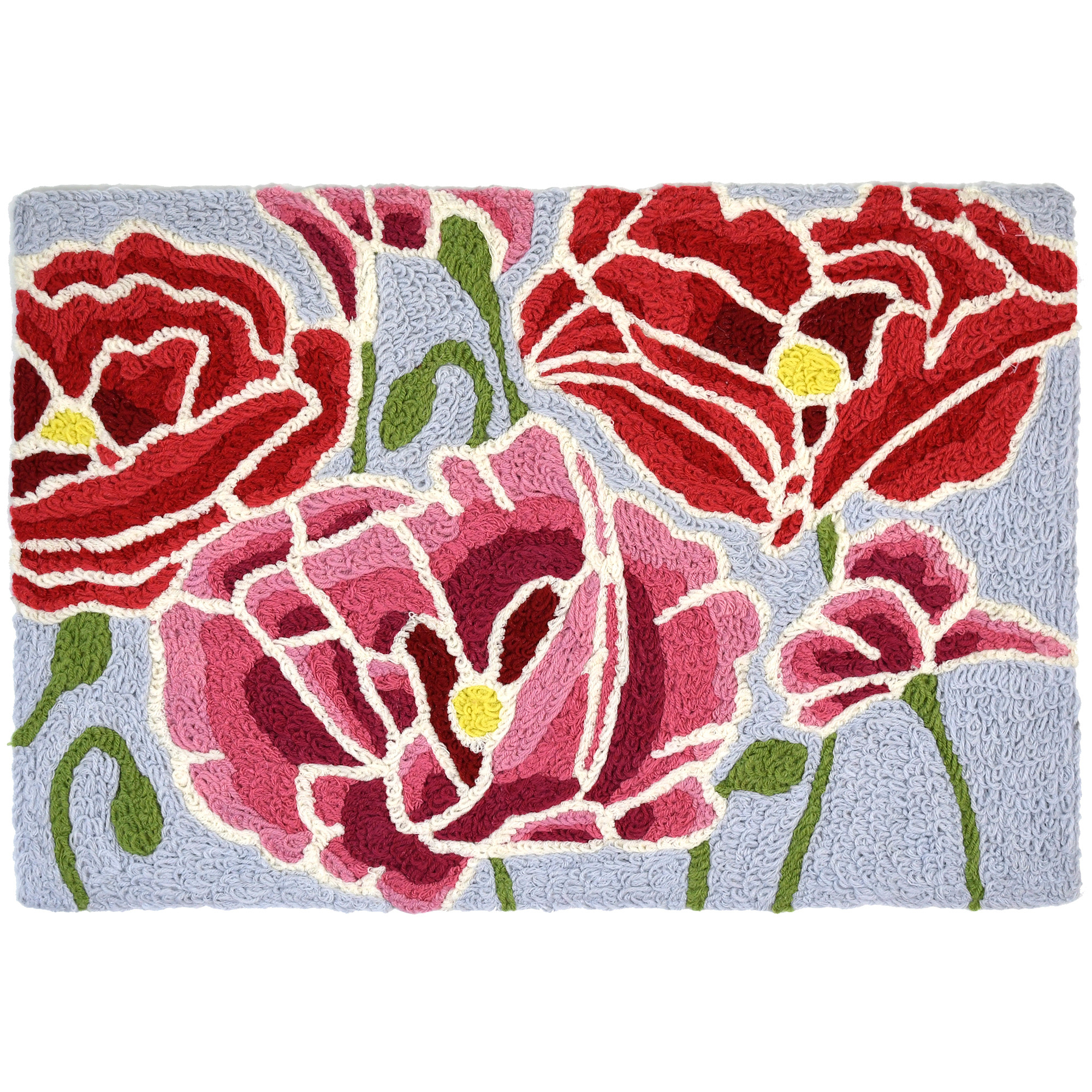 Imagery as bright as the fragrance, pink and red poppies dance across this Jellybean® accent rug. Enjoy the blooms indoors and outdoors with this fitting accent rug. Jellybean® accent rugs are machine washable with polyester crafting.