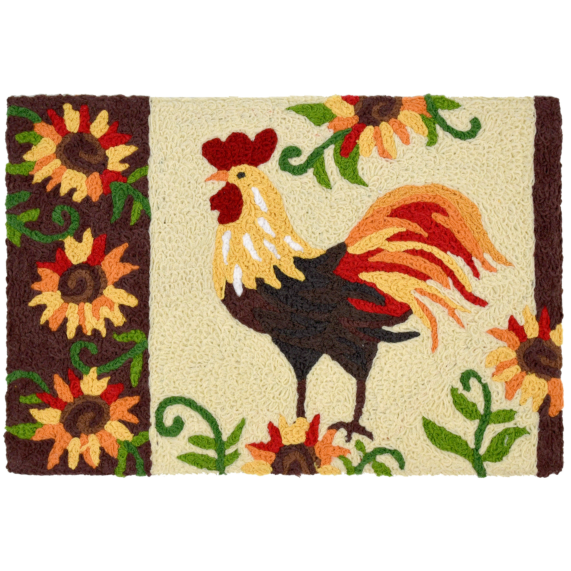 The soft, fringed plumes of the focal rooster are complemented by the presence of golden sunflowers on this Jellybean® accent rug designed by Elena Vladykina. Warm tones of brown and gold make this throw rug an inviting accent to indoor and outdoor spaces. Machine washable polyester.