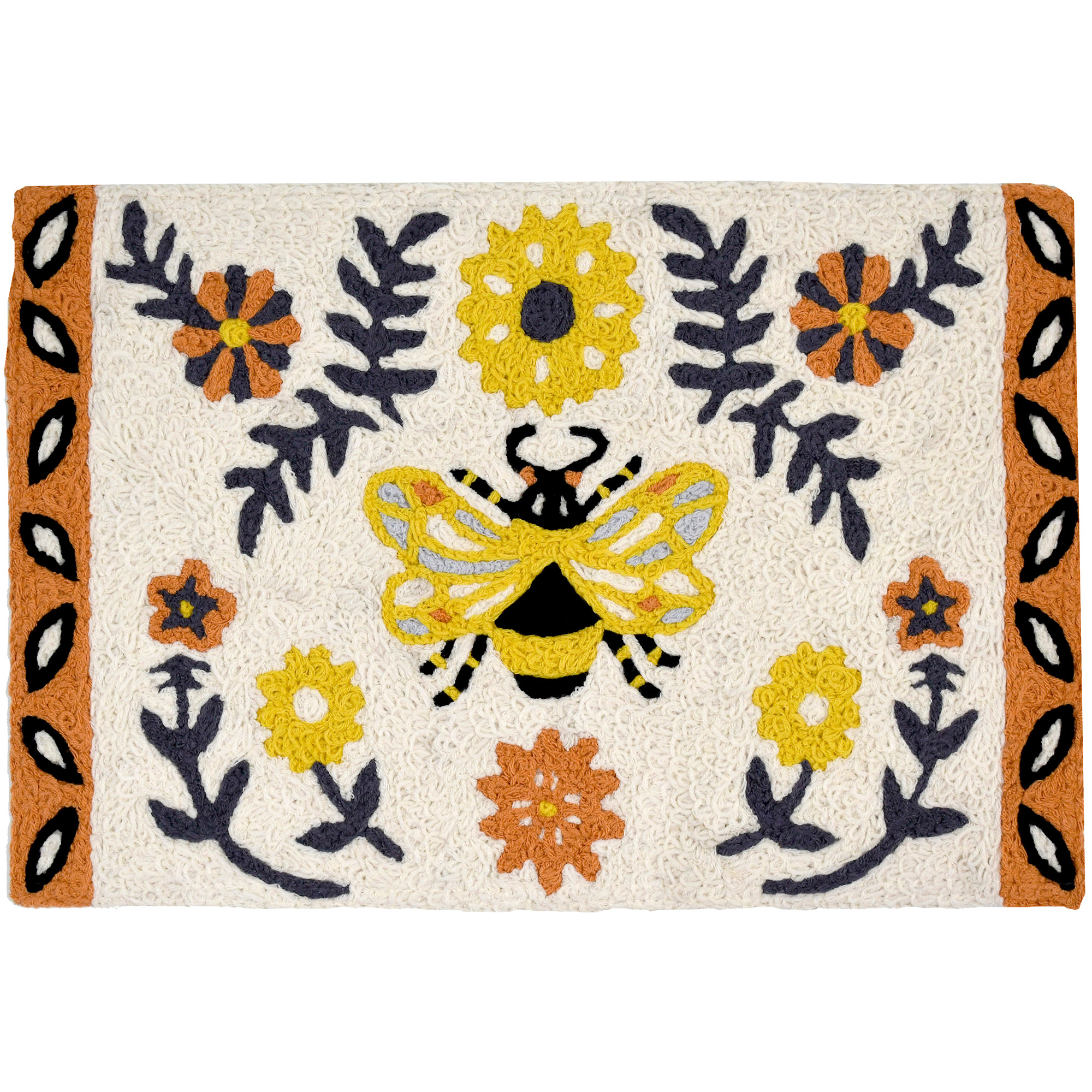 A yellow bee takes center on this soft hued Jellybean® accent rug. Surrounded by blooms and decorative geometric edging this delightful, machine washable rug, will brighten the space of your choosing. This polyester rug is suitable for outdoor and indoor use.