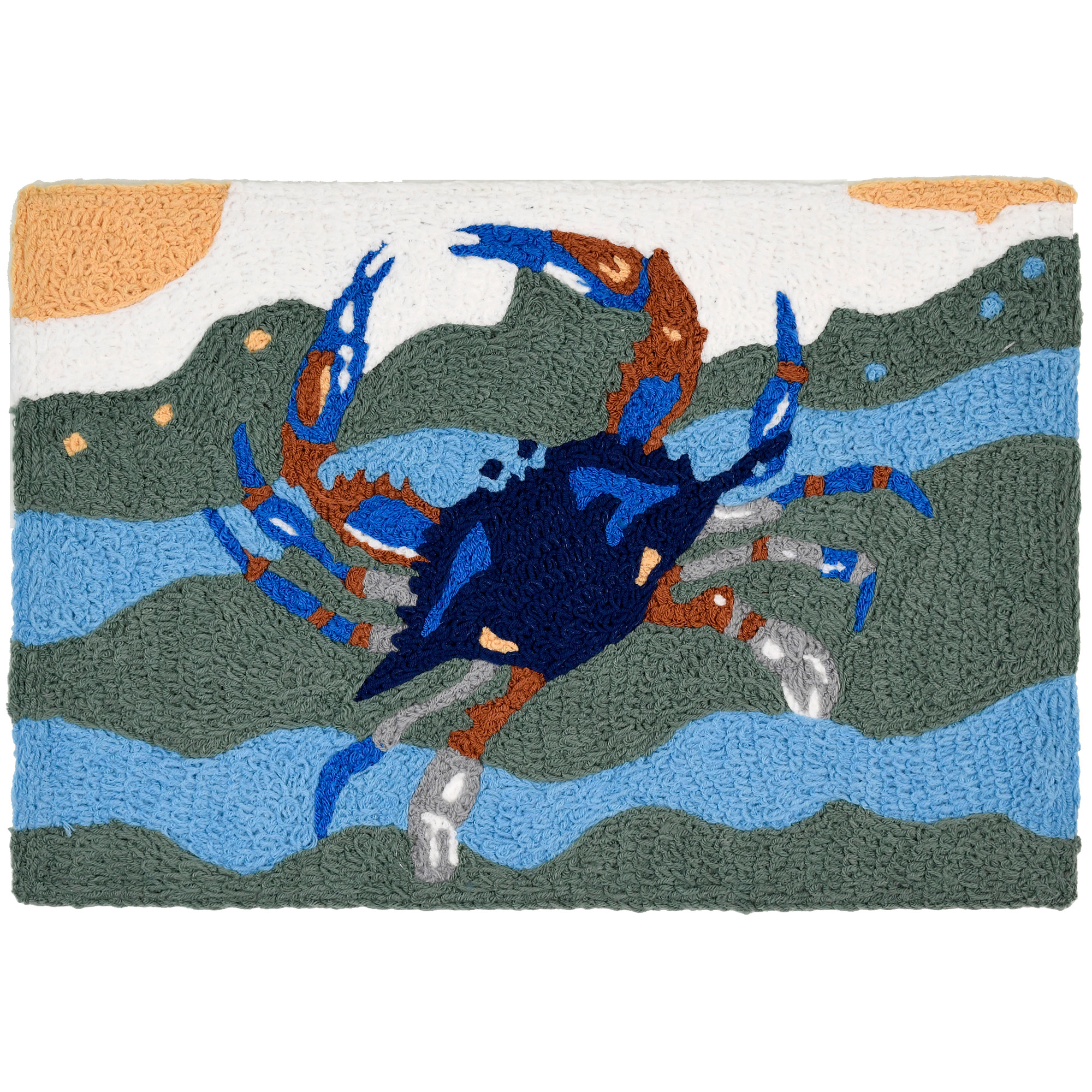 This Jellybean® accent rug features blues and greens accented by hints of orange. The royal blue crab stands out against aqua waters making the waves seem steps away. This polyester throw rug can be used indoor and outdoor, with machine washable crafting.