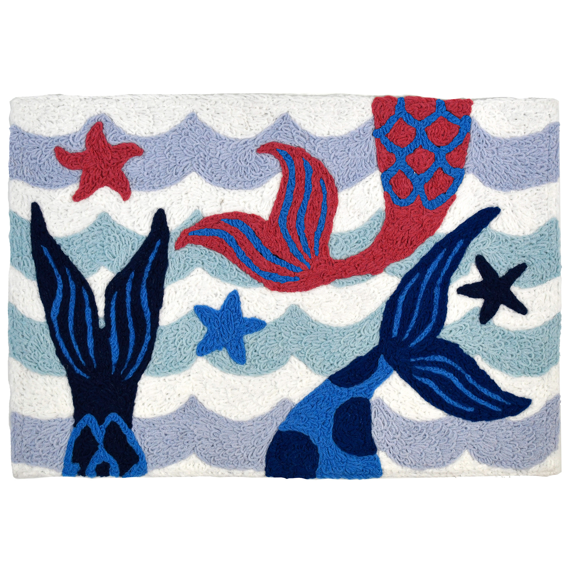 Three tails splash in dazzling blue water among the starfish. This mermaid themed Jellybean® accent rug will bring whimsical enjoyment to the indoor or outdoor space of your choice. The polyester fibers of this blue and white accent rug are machine washable.