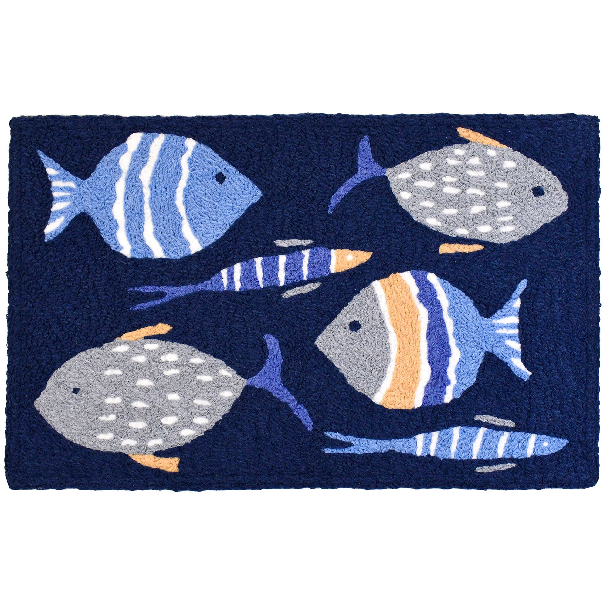 An assortment of fish and hues of blue bring underwater delight to this machine washable Jellybean® accent rug. Bring an undersea adventure inside or enjoy it on the patio with indoor/outdoor rug craftsmanship.