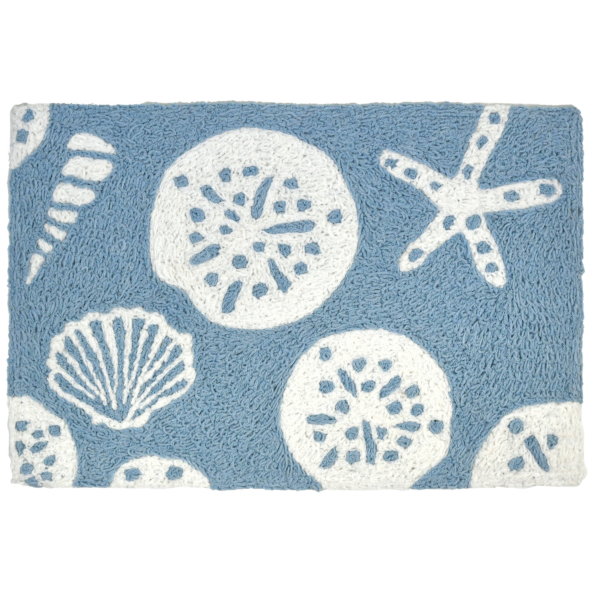 Artist Kris Ruff captured the beauty of shells with this coastal themed Jellybean® accent rug. White shells are scattered against a blue background representing clear skies and water. This two-toned accent rug is sure to make a welcomed statement whether indoors or out. The polyester fibers are machine washable.