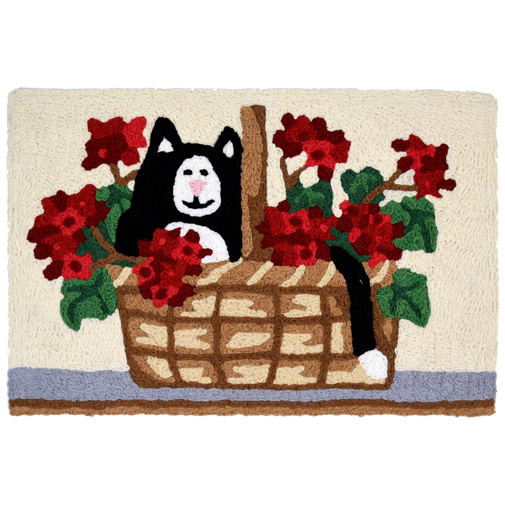 Artist Laurie Korsgaden captured the playful nature of a kitten on this Jellybean® accent rug. Her black and white fur is nestled among the the bright red geranium blooms. Add this machine washable indoor and outdoor rug to the space of your choosing.
