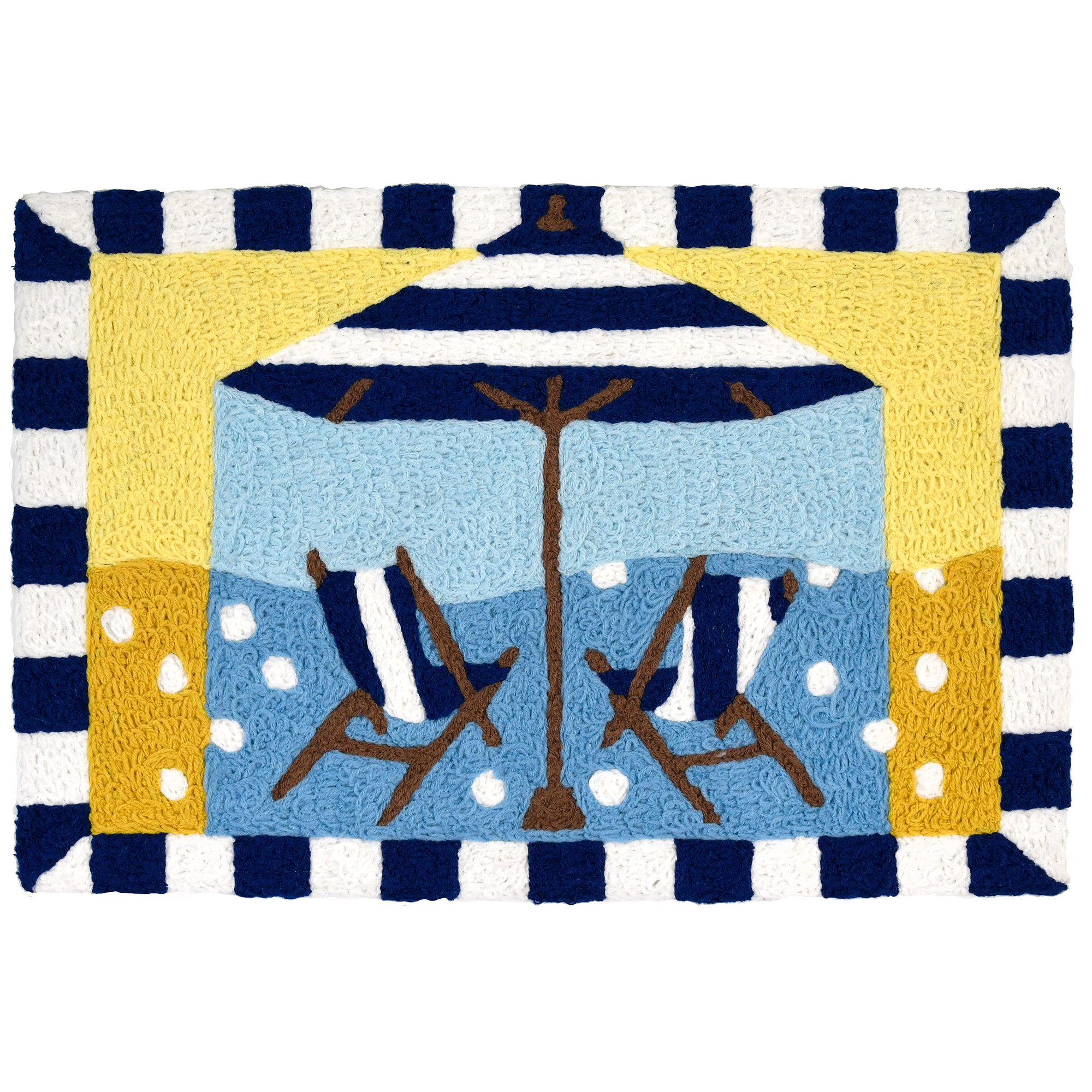 Artist Sally Ball Sharp has captured the essence of beach living on this Jellybean® accent rug. Primary colors of yellow, blue, and white show off the geometric balance of striped chairs and umbrella against bubbling circles. This machine washable throw rug is made of polyester and suitable for indoor and outdoor use.