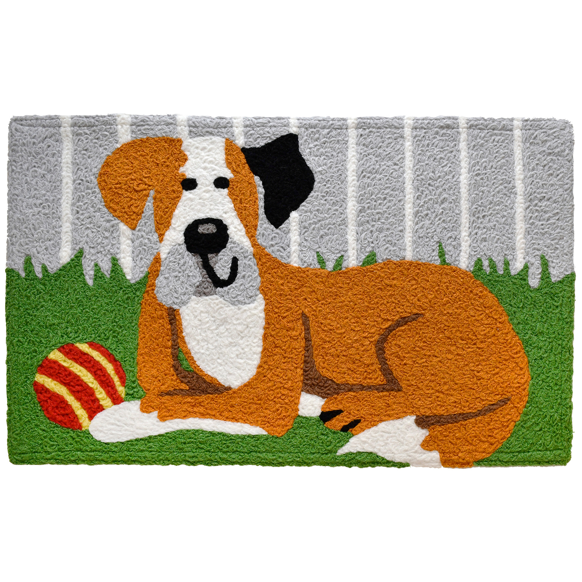Artist Sarah Frederking has captured the happiness of a hound with his ball with this Jellybean® accent rug. His smile while laying in the cool grass of his back yard will make you smile with just as much delight. This machine washable, indoor/outdoor rug is made of polyester.