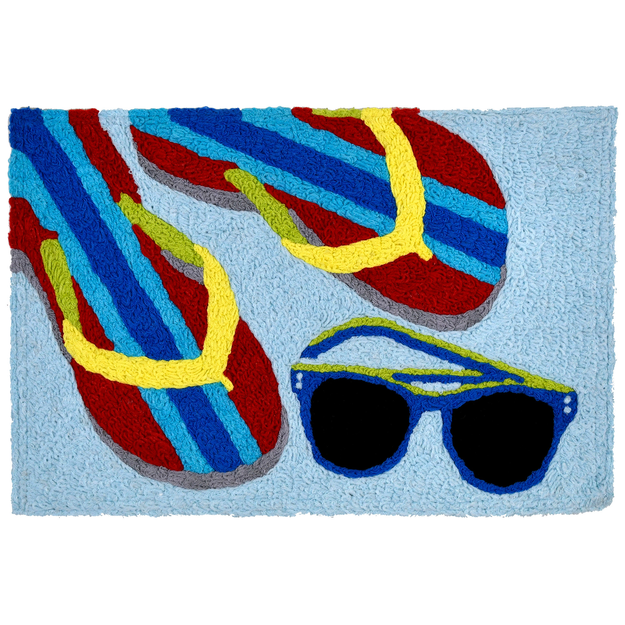 Sunglasses and flip flops are the perfect accessories for the beach and this Jellybean® accent rug. The bright primary colored hues on a machine washable rug make this polyester piece a welcomed addition to your indoor and outdoor spaces alike.
